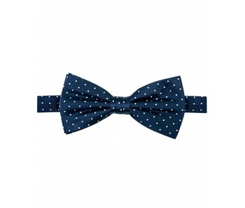 Michaelis Bowtie navy dot silk.