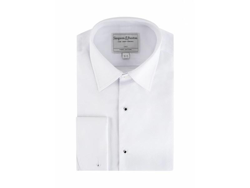 Simpson & Ruxton Smokingshirt pique met studs kent collar