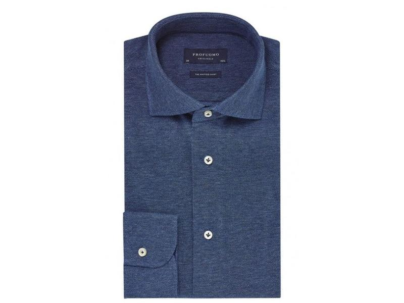 Profuomo Jeans mélange knitted overhemd