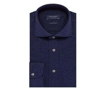 Profuomo Navy mélange knitted overhemd