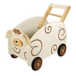 I'm Toy Houten Loop / duwwagen Koe met speelgoedkist