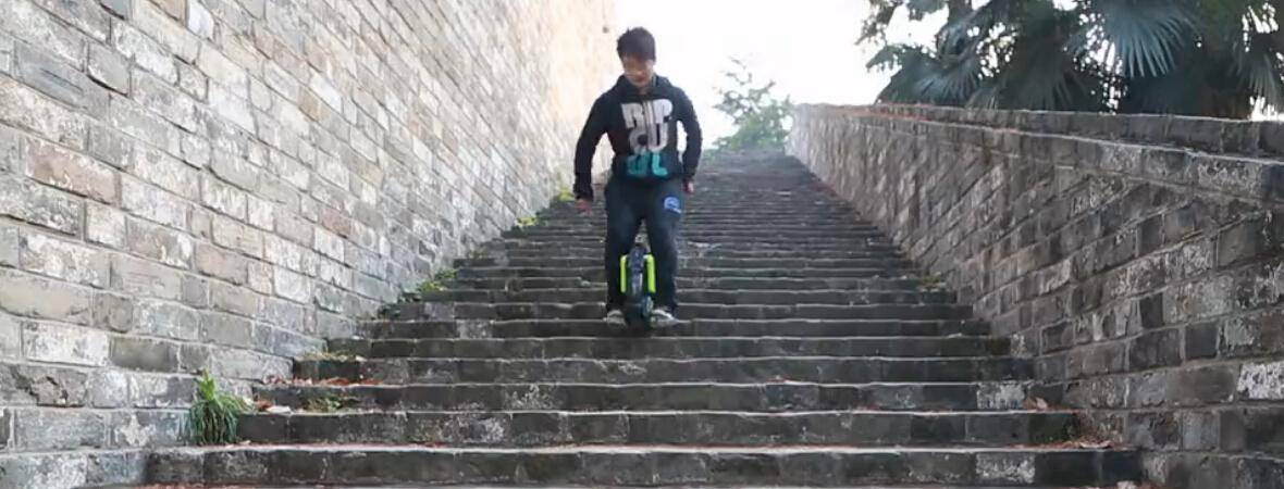 Stairway Unicyclist