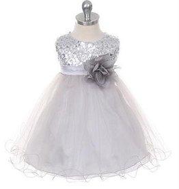 Feestjurk - Bruidsmeisjes jurk  Daphne zilvergrijs
