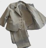 Kostuum driedelig midden bruin met ingeweven glansstreep