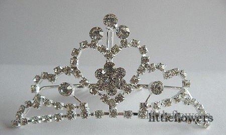 Kroontje van strass op haarkam model 2