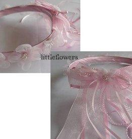 Tiara roze met organza bloemetjes en parels