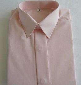 Overhemd zalm roze met korte mouw