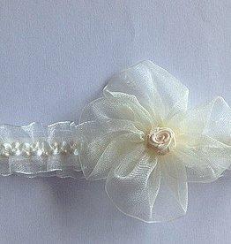 Haarbandje ivoor met bloem