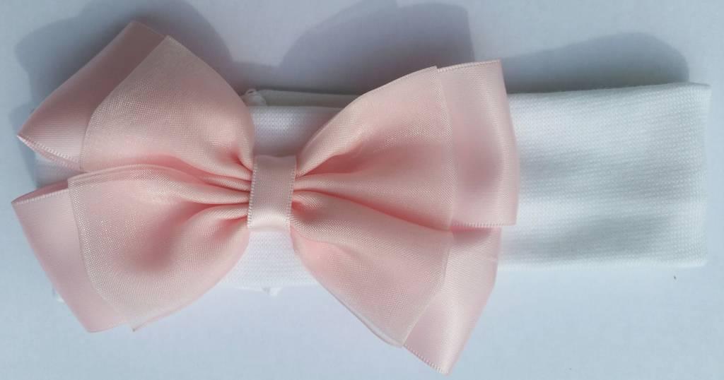 Baby hoofdbandje wit met roze strik