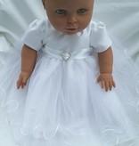 Doopjurk baby jurk  Rosa wit met wit lint