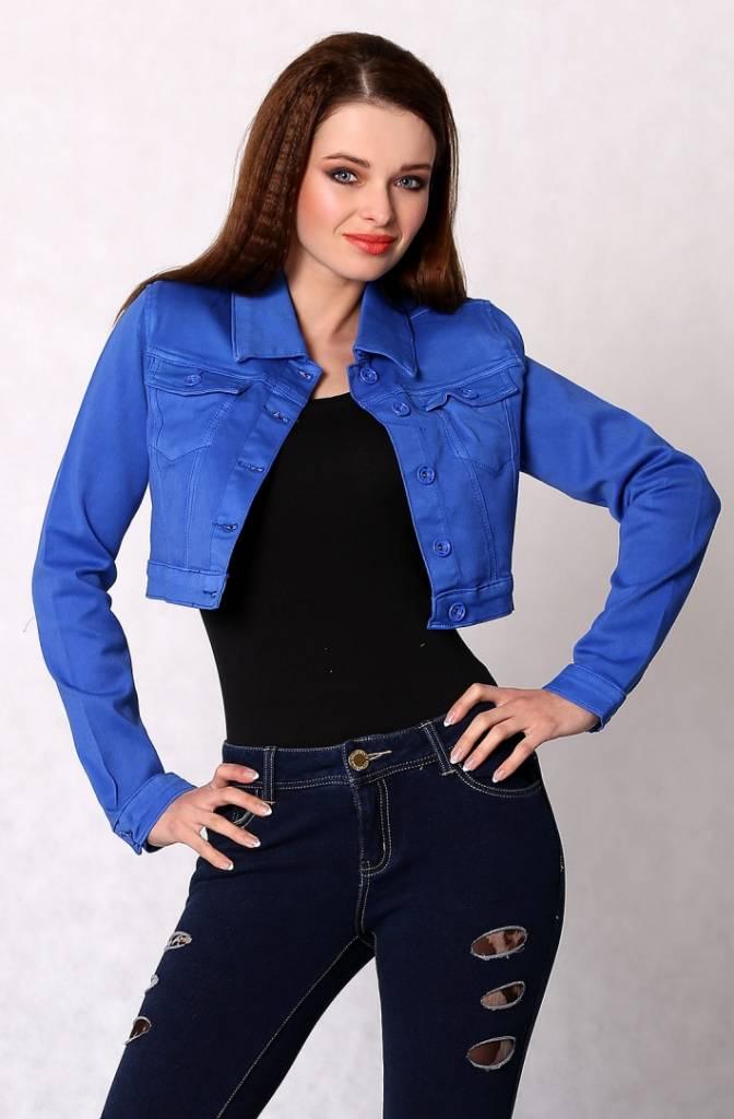 Jeans jacket buttoned, short - blue - eShopFashion.com