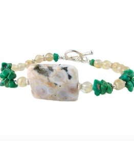 Bracelet ocean jasper and natural turquoise