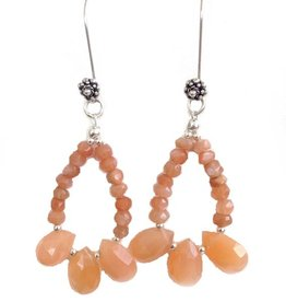 Earrings, moonstone