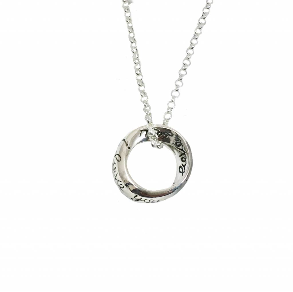 Silver necklace with i love you pendant njamsterdam jewelry makers cadeau idee silver necklace with circle pendant i love aloadofball Image collections