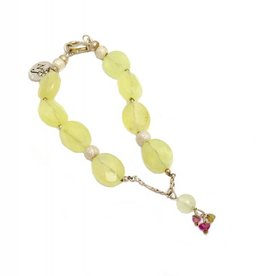 Bracelet prehnite and tourmaline