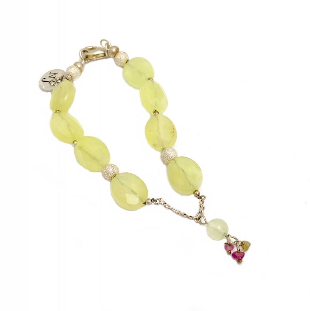 Bracelet with prehnite, tourmaline and silver accents