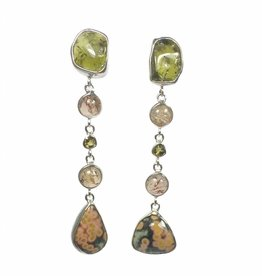 Special edition Earrings tourmaline,  ocean jasper and topaz