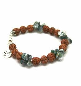Spiritual jewelry Bracelet moss agate rudraksha