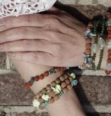 Spiritual jewelry Prehnite and rudraksha, Daffodil