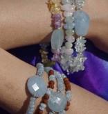 Transparant and milky Aquamarine bracelet 'Ocean Blue'