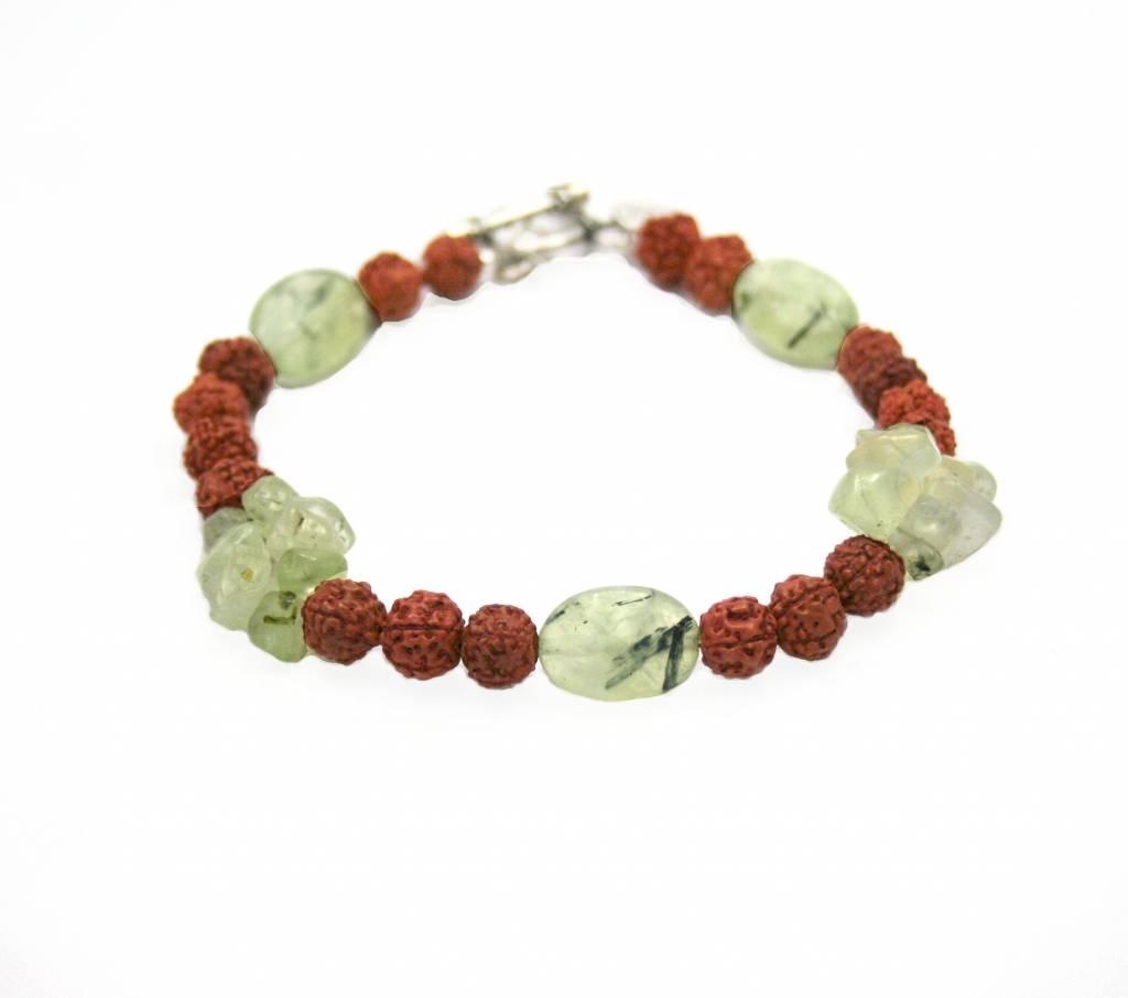 Spiritual jewelry Prehniet en rudraksha, Daffodil