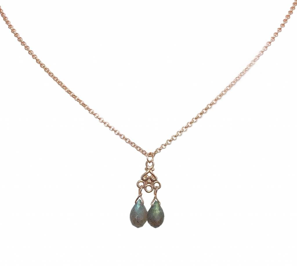 Necklace  labradorite drops