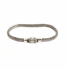 Armband geweven zilver, smal