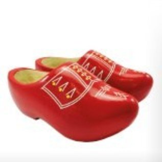 Red children's wooden shoes with stripes