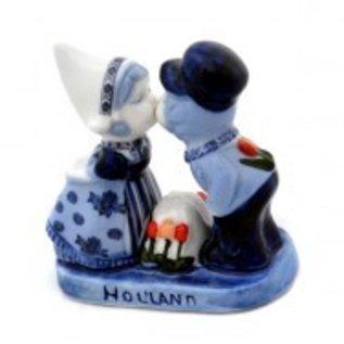küssendes Paar Delfter Blau   Delfter Blau Leistung mit einem küssendes Paar