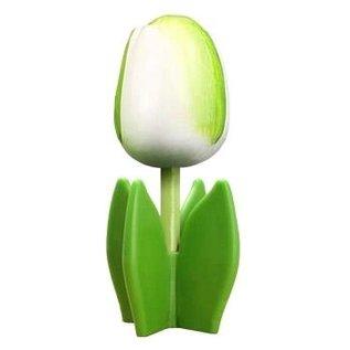 Holz Tulpe auf einem Blatt in weiß