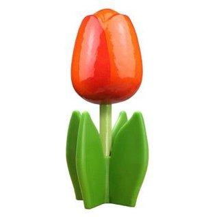 Holz Tulpe auf einem Blatt in orange