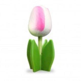 Holz Tulpe auf einem Blatt in weiß-rosa