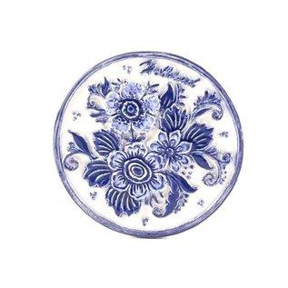 Magnet Delfter Runde mit Blumen Holland