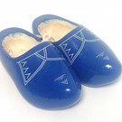 Blue children's clogs with stripes