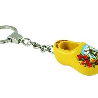 keychain with a wooden clog 4cm yellow
