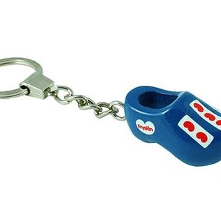 keychain with a wooden shoe 4cm bleu