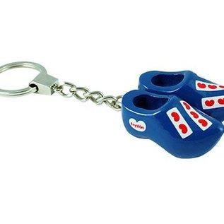 Keychain 2 clogs 4 cm blue Frisian