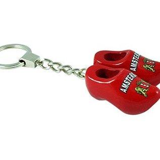 2 Holzschuhe von 4 cm mit Schlüsselanhänger Rot Amsterdam