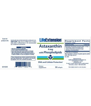Life Extension Astaxanthin mit Phospholipiden