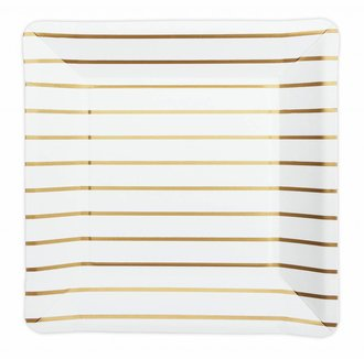 SQUARE PLATES GOLD STRIPED