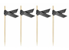 RIBBON FOOD TOPPERS BLACK GLITTER