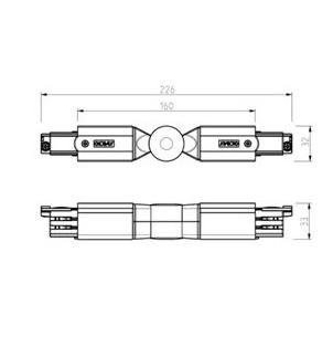 NORDIC ALUMINIUM Verstelbare hoek 3-fase rails XTS 24
