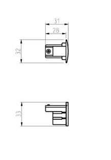 NORDIC ALUMINIUM Eind kap 3-fase rails XTS 41