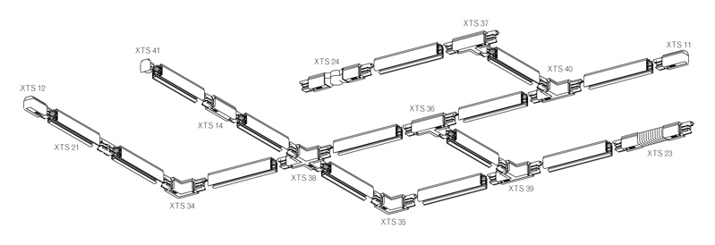 NORDIC ALUMINIUM Koppelstuk 3-fase rails XTS 21