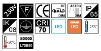 MacBright UL-PA/PO LED 5300lm 750 ND 55W Osram Oslon IP65 IK08