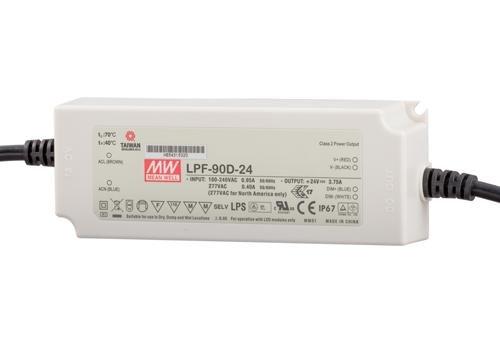Meanwell LED trafo | 90W | 24V | Dimbaar 1-10V | IP67