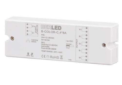 RGB draadloze controller, 12/36v, 8A per kanaal, max. 768W