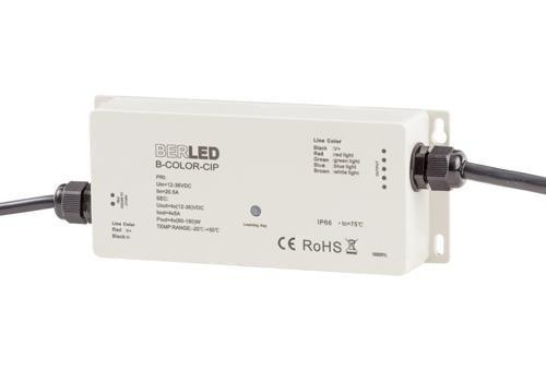 RGBW draadloze controller, 12/36v, 5A per kanaal, max. 480W, IP65