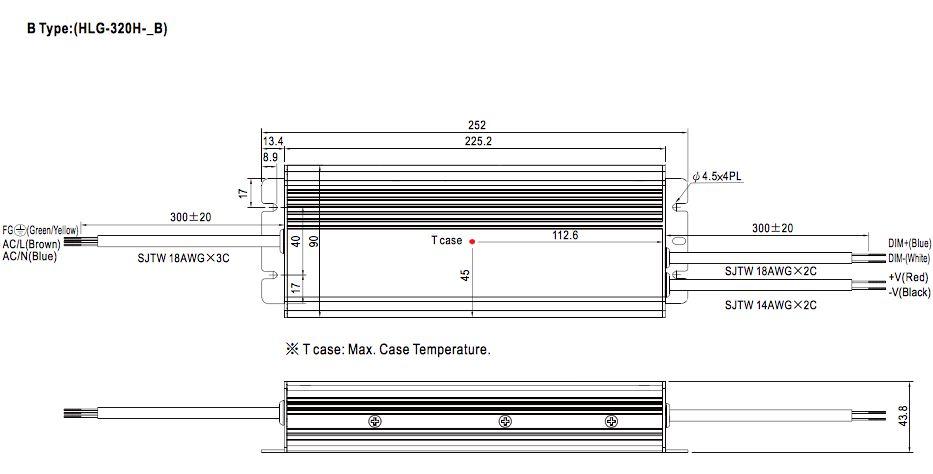 Meanwell LED trafo | 320W | 24V | Dimbaar 1-10V | IP67