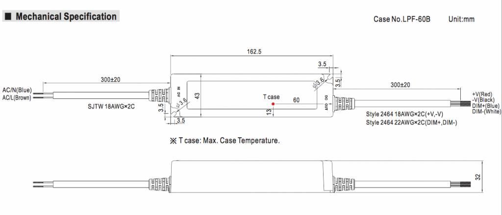 Mean Well LED trafo | 40W | 24V | Dimbaar 1-10V | IP67